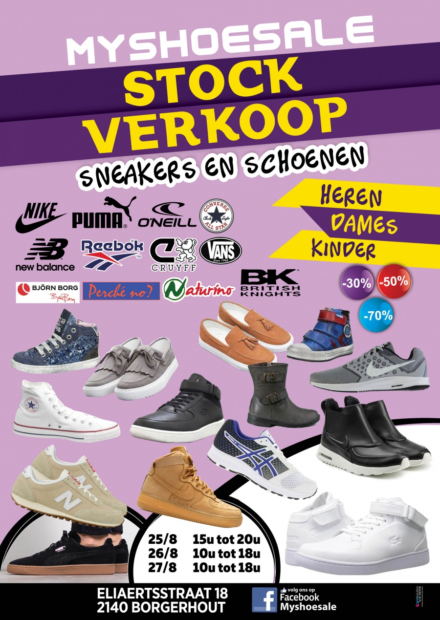 58ae469d161 BACK TO SCHOOL TOP Stockverkoop schoenen en sneakers Koop nu schoenen aan  -30% -50% -70% Heren,dames en kinderen ... Kijk voor meer info op onze  flyer Bij ...