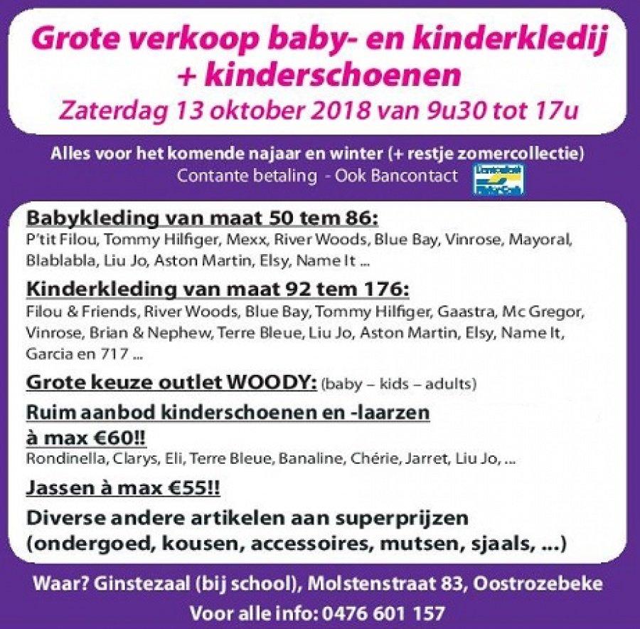 14c5eccd5d4 Zaterdag 13/10: Grote verkoop Baby- en kindermerkkledij + kinderschoenen  van 9u30 tot 17u .