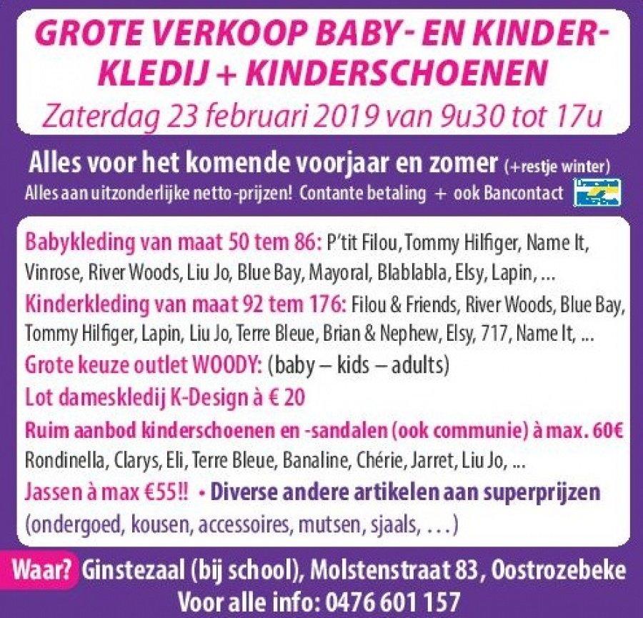 4dd76bcd83e Grote verkoop baby- en kinderkledij + kinderschoenen Zaterdag 23 februari  van 9u30 tot 17u Alles voor het komende voorjaar en zomer (+ restje winter)  Alles ...